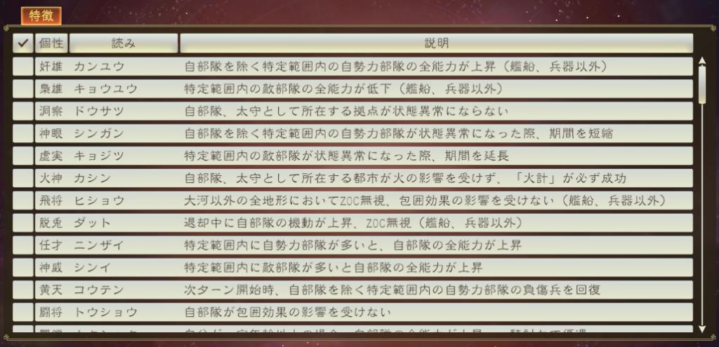 新武将の個性一覧