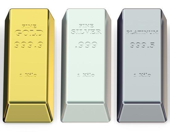 金と銀とプラチナの地金