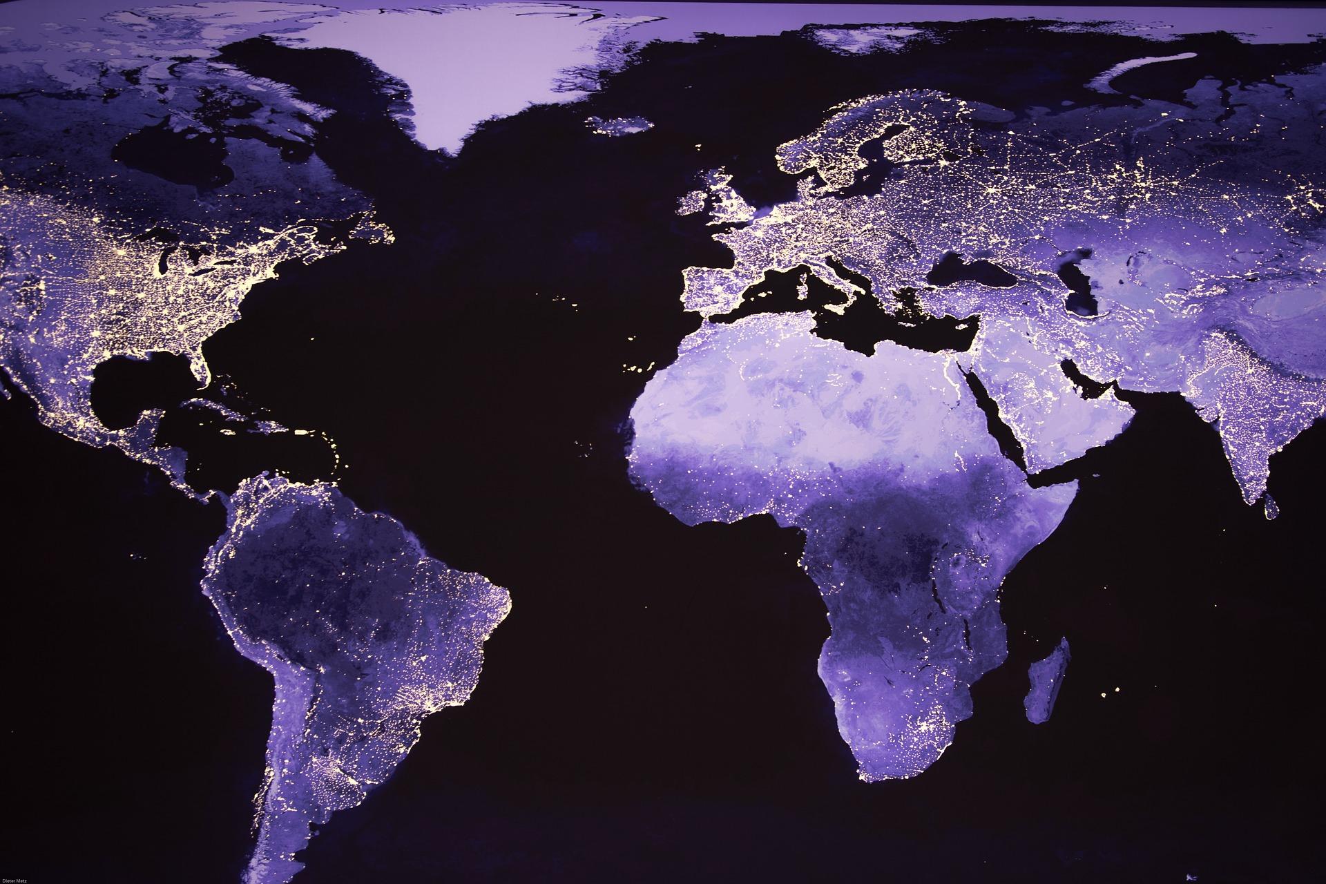 夜の世界地図