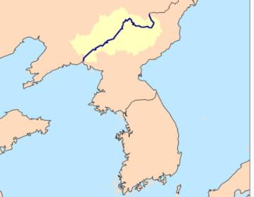 中国遼寧省丹東の鴨緑江の場所